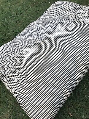Vintage Antique Indigo Blue & Khaki Ticking Featherbed