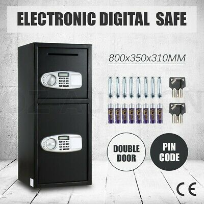 Electronic Safe Box Double Door LCD Cash Deposit Home Office Security Lock