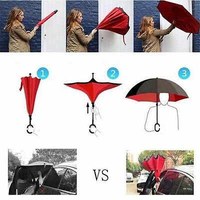 Folding Double Layer Sun Rain Umbrella Reverse Inverted Rain Umbrella