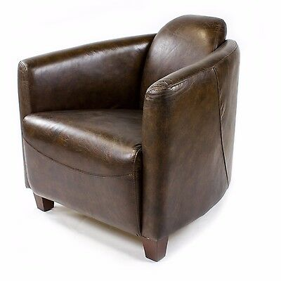 Vintage Leather Armchair Brown Real Retro Chair Design Lounge Club 443