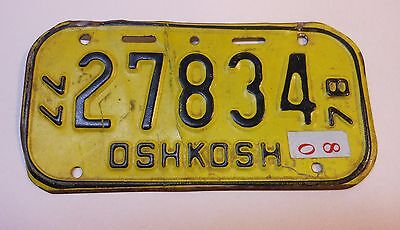 Vintage Wisconsin 1977-78 Oshkosh Bicycle License Plate