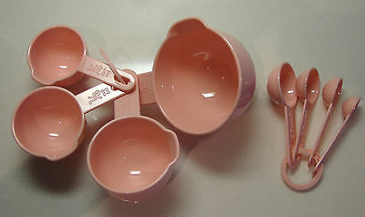 Set of Four Pink Nesting Measuring Cups and 4 Measuring Spoons