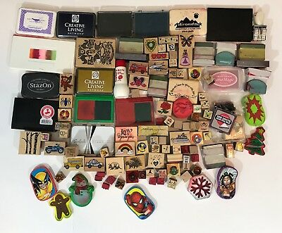 Huge Lot Of Vintage and Modern Rubber Stamps For Crafting