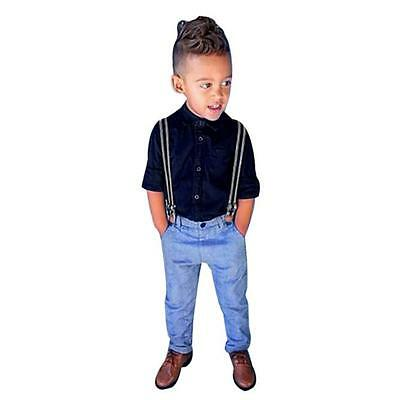 1Set Kids Baby Boy Long Sleeves Shirt Top + Pants Suspenders Clothes Outfit 110