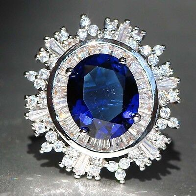925 Silver Filled Woman Sapphire Birthstone Engagement Wedding Loving Gift Ring