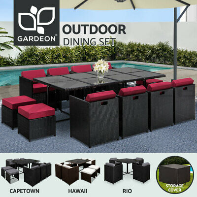 5/9/11PCS Outdoor Dining Furniture Set PE Wicker Rattan Garden Table and Chair
