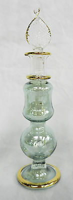 Pretty Green & Gold Etched Hand Blown Egyptian Glass Scent / Perfume Bottle (D)