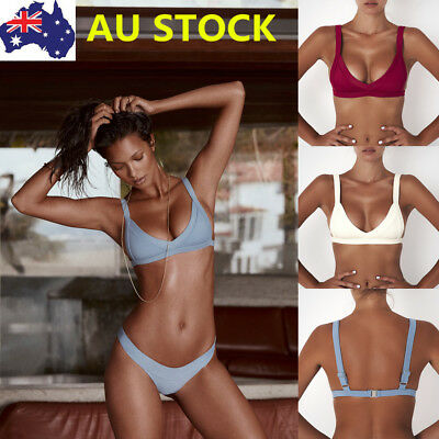 Women Triangle Bikini Set Push Up Padded Bra Bandage Swimsuit Swimwear Bathing