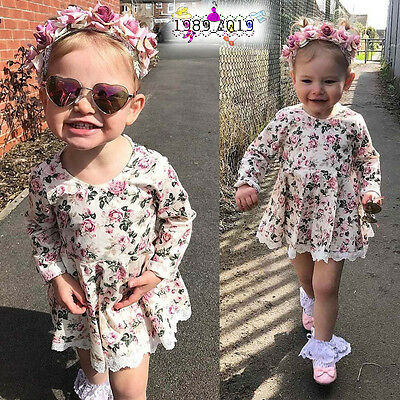 Toddler Kids Baby Girl O-Neck Floral Lace Dress Pageant Princess Dresses Clothes