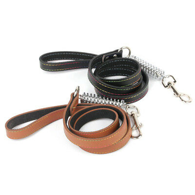 2017 Pet Dog Leather Collar & Leash Pet Chain Rope Spring for Medium Big Dog NEW