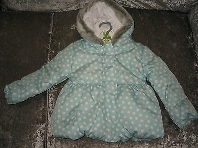 Nwt Bhs Baby Girls Blue Winter Coat/jacket,12-18 Month