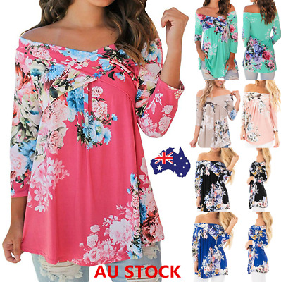 Plus Size Women Off Shoulder Floral Shirt 3/4 Sleeve Strapless Blouse Loose Tops