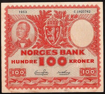 100 Kroner From Norway 1953 I XF+