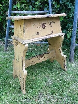 Antique Stool Rustic Painted Stool With Storage Box Top, Old Paint C1890