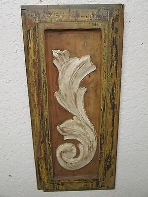 Antique Old Door Carved Panel #2--Mexican-Antique-Primitive-Vintage-11x25 in