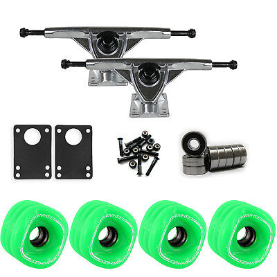 SHARK WHEELS Longboard Package 70mm S.GREEN 180MM RAW Trucks with Bearings