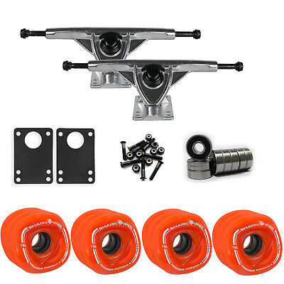 SHARK WHEELS Longboard Package 70mm ORANGE 180MM RAW Trucks with Bearings