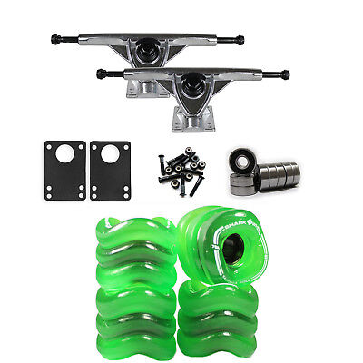SHARK WHEELS Longboard Package 60mm Clear Green 180MM RAW Trucks with Bearings