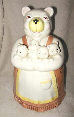 Adorable Mama Bear Holding Cubs Victorian Dress Ceramic Cookie Jar Mint