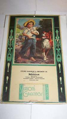 1936 Advertising Calendar - Dog - Monarch Aladdin Lamps
