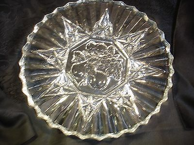 "Vintage Depression Glass Federal  Plate -"" Pioneer"" -8 1/4""-embossed fruits"