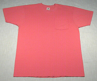 Vintage FRUIT OF THE LOOM Pocket T-Shirt (90s) Pink PLAIN/BLANK WOW! L