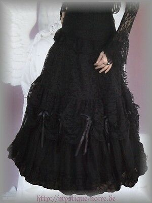 Victorian Ruffle Prom Skirt Lace Tulle Bows Burlesque Wedding Steampunk