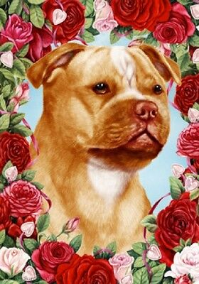 Garden Indoor/Outdoor Roses Flag - Orange/Wht Staffordshire Bull Terrier 192461