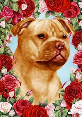 Garden Indoor/Outdoor Roses Flag - Orange Staffordshire Bull Terrier 192471