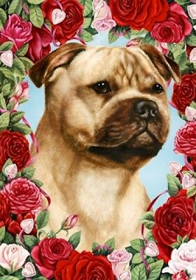 Garden Indoor/Outdoor Roses Flag - Fawn Staffordshire Bull Terrier 192451