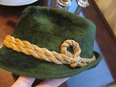 P & C Habig Austria Vtg. Men's Green Long Felt Hat Tyrolean Rope Band No Damage