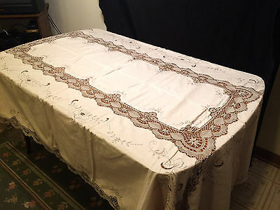 Vintage Ivory Hand Embroidered and Cutout Tablecloth 64 x 100 Rect & 12 Napkins