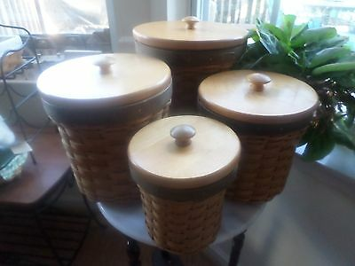 Longaberger Canister Set 4 Basket Combos With Protectors And Lids