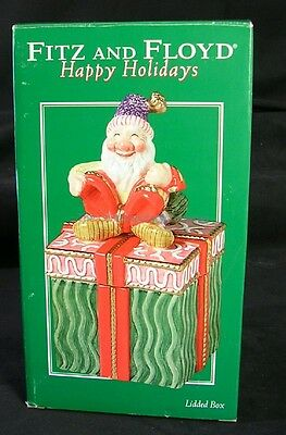 NEW! FITZ & FLOYD Smiling Christmas Elf Lidded Box HAPPY HOLIDAYS