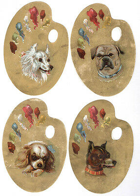 1880's SET OF 4 MATCHING DIE CUT TRADE CARDS, 4 DIFFERENT DOGS, ALL UNUSED  C34