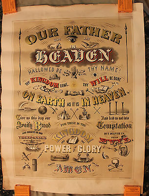 Original 1873 Chromolithograph Odd Fellows Lord's Prayer Broadside/Poster