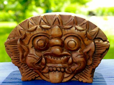Barong Boma Secret Puzzle Box Trinket Jewelry Stash hand carved wood Bali Art
