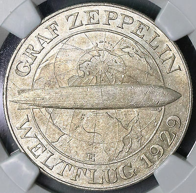 1930-E NGC AU 55 GRAF ZEPPELIN Silver 5 Mark World Flight 30K Minted (16102807C)
