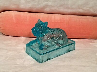 Vintage Candy Container Blue Glass Of A Dog