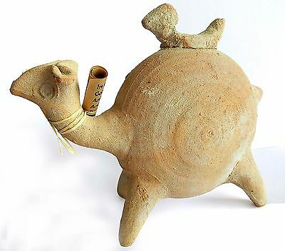 Ancient biblical Iron Age Camel Zoomorphic Holy Land Pottery Clay Statue