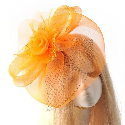 handmade women orange large hat hair fascinator clip wedding races prom party