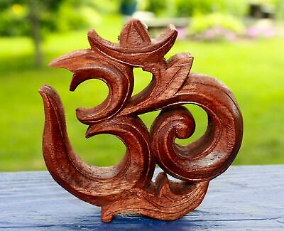 """Sacred Om Mantra ॐ Wall Art Plaque Relief Panel Hand Carved wood Balinese 3.75"""""""