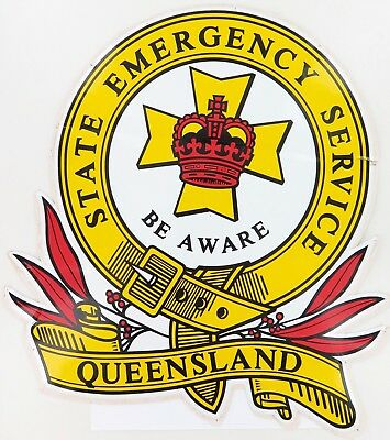 1980's / SUPER RARE / HUGE QUEENSLAND QLD STATE EMERGENCY SERVICE DECAL