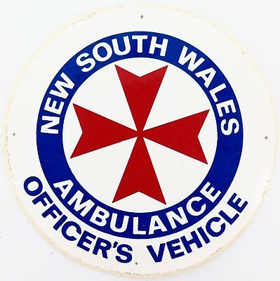 Obsolete / Scarce Nsw Ambulance Officer'S Vehicle Decal.
