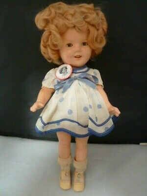 """Early Ideal Composition Shirley Temple Doll  13"""" Rare Blue white dress and BADGE"""
