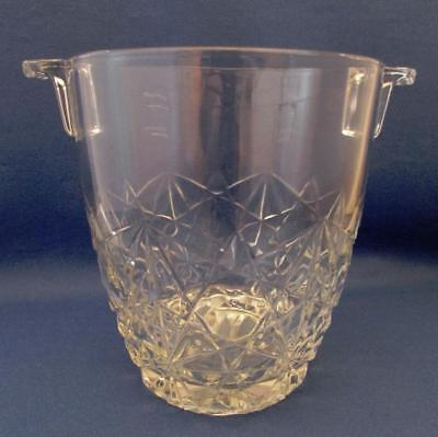 Vintage Crystal Ice Bucket With Cross-Hatch Pattern