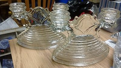 Vintage Pair of Double Candle Holders / Dual Candles / Glass / Antique