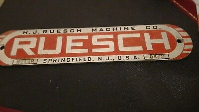 Vintage Advertising Sign / Name Plate - Ruesch Machine Co. -Springfield NJ