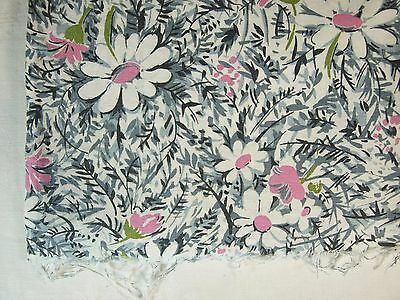 Vintage PINK & WHITE Flowers on GRAY & WHITE Background Opened Feed Sack
