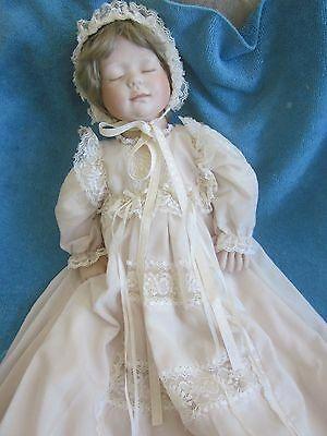 handmade SLEEPING BABY porcelain DOLL dressed in hand made christening gown